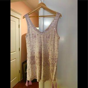 Calypso St Barth Purple Sequin Tassel Hem Dress M